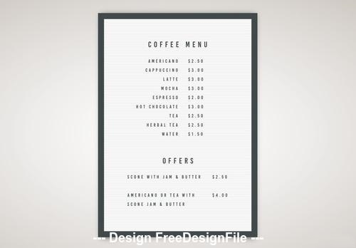 Letter board coffee menu vector