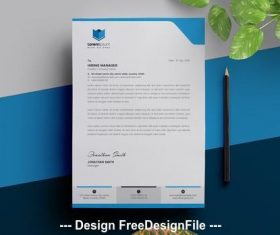 Letterhead layout with cyan vector