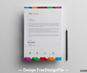 Letterhead with multicolored header and footer vector