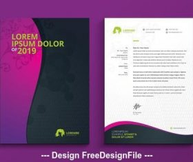 Letterhead with pink to purple gradient wave element vector
