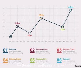 Line graph infographic vector