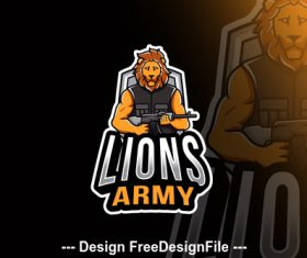 Lions army esport logo template vector