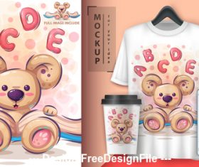Little bear cartoon decoration pattern vector