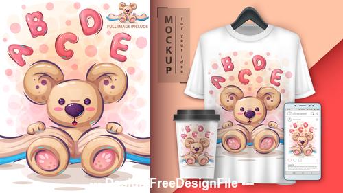 Little bear cartoon decoration pattern vector