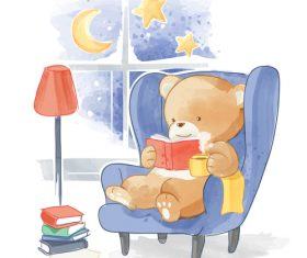 Little bear reading book cartoon vector