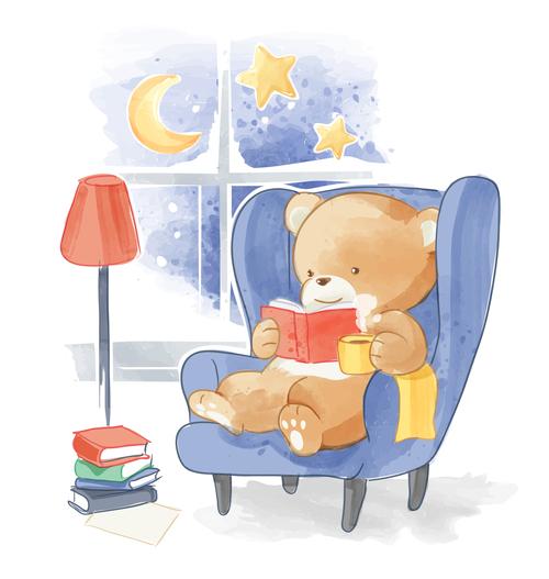 Little bear reading book cartoon vector