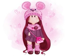 Little girl wearing a rabbit hat cartoon illustration vector