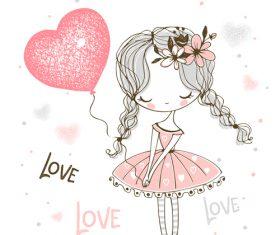 Little princess cartoon illustration vector