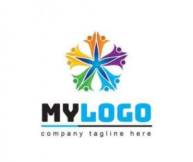 Logo abstract colorful people icon vector