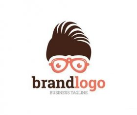 Logo layout with hair and glasses vector