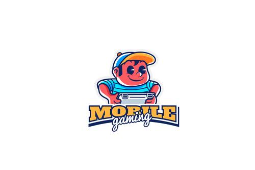 Logo mobile gaming vector