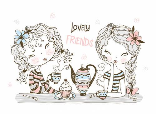 Lovey friends cartoon illustration vector