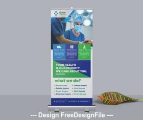 Medical roll up banner blue vector