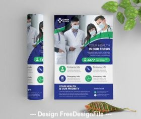 Medical service flyer with graphic elements vector