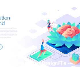 Meditation for mind flat concept vector