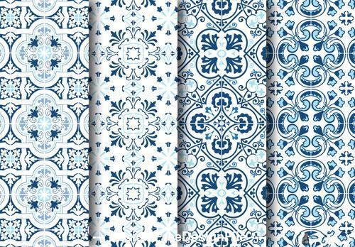 Mediterranean blue tile pattern set vector