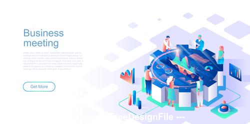 Meeting flat concept vector