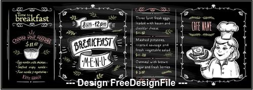 Menu list design template vector