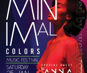 Minimal Music Festival Flyer PSD Template