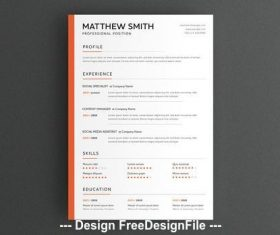 Minimal resume layout with orange sidebar vector