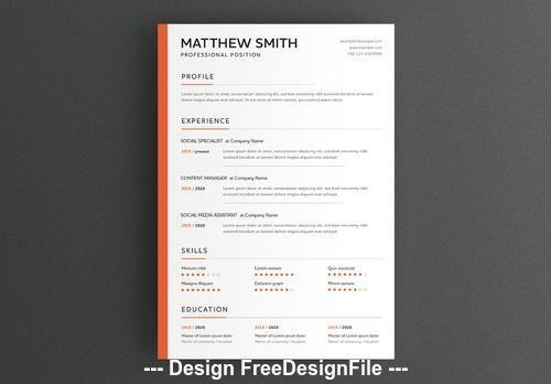 Minimal resume layout with orange sidebar vector