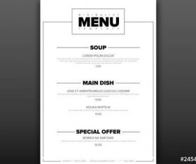 Minimalist menu layout vector