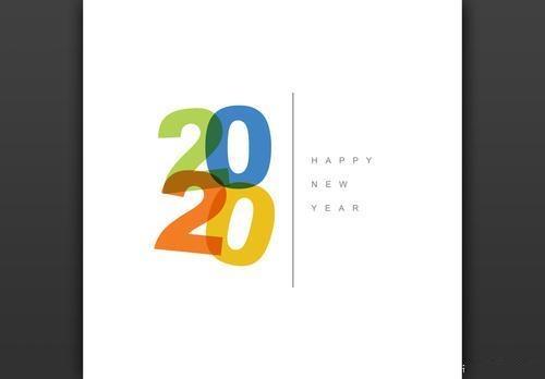 Minimalist new years card vector