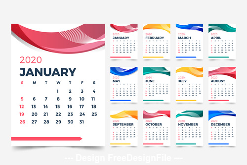 Modele Calendrier Abstrait 2020 Vector Free Download