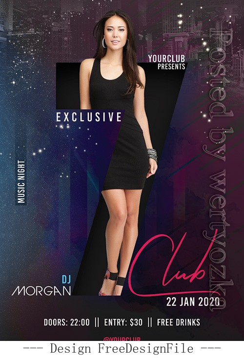 Morgan Club Party Flyer PSD Template