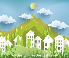 Mountain and building silhouette card vector