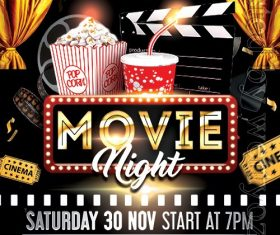 Movie Night Poster and Flyer PSD Template