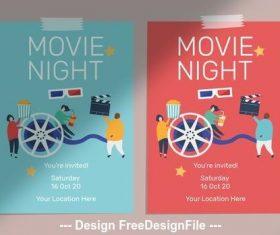 Movie night flyer vector
