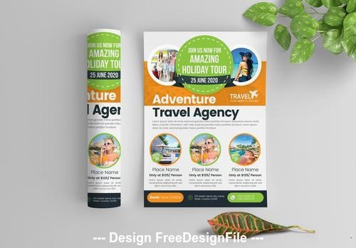 Multicolored travel flyer with circular photo elements vector