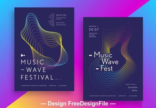 Music festival poster set with geometric shapes vector
