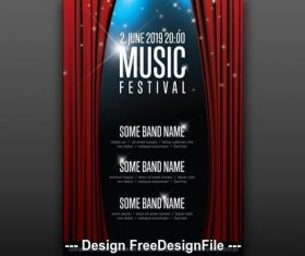 Music festival poster with curtains vector