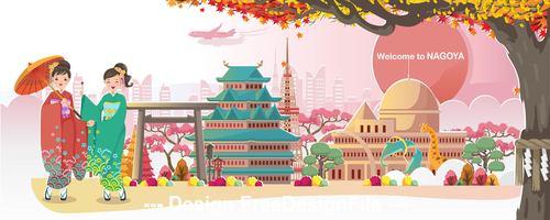 Nagoya landscape cartoon illustration vector