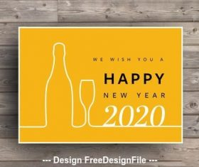 New year card ehite eine bottle and glass vector