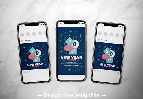 New year event social media vector