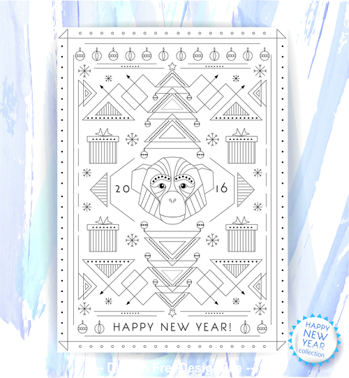 New year line pattern flyer vector