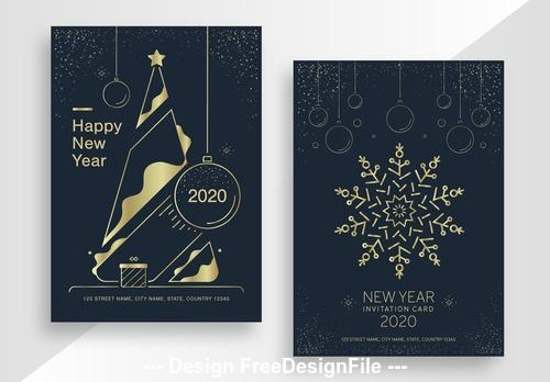 New year poster set with gold vector