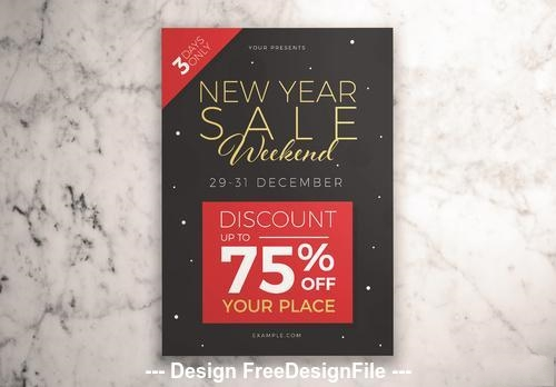New year sale weekend with illustrative vector