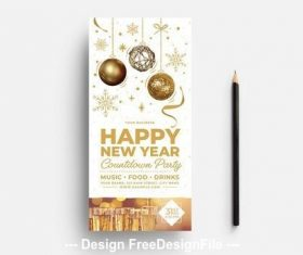 New years eve card light theme vector