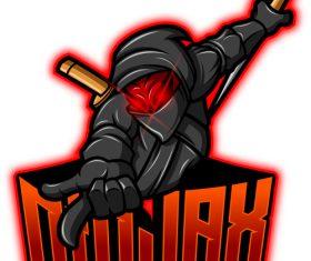 Ninja mascot esport logo vector