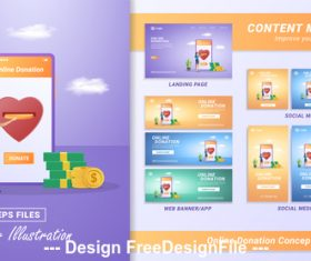 Online donation concept vector