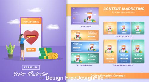 Online donation concept vector