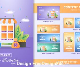 Online marketing content material design flat banner vector