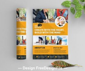 Orange building business flyer vector