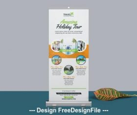 Orange roll up banner vector