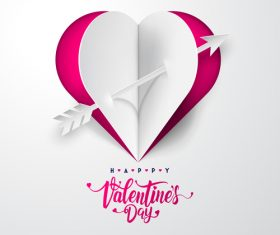 Origami valentines day greeting card vector