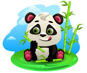 Panda eating bamboo illustration vector